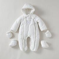 新生儿衣服冬装纯棉0-3个月满月哈衣婴儿连体衣