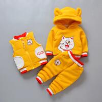 秋冬装宝宝衣服冬天婴儿童棉衣套装三件套潮