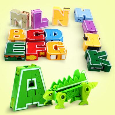 字母数字变形玩具机器人金刚益智套装恐龙合体儿童智力女男孩英文