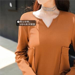 七格格长袖t恤秋装女新款宽松韩版学生v领中长款打底衫上衣冬