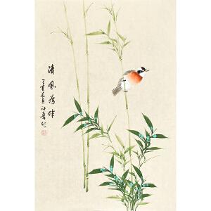 河南美术家协会会员许鲁四尺三开花鸟画gh04810