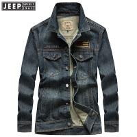 吉普男士秋冬季新款夹克男士长袖多袋牛仔夹克 男式英伦长袖外套