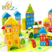 桶装城市交通场景大块积木木制益智玩具早教儿童玩具批发