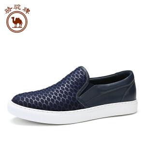 骆驼牌 新品休闲鞋 头层纳帕牛皮套脚鞋舒适男士板鞋低帮鞋