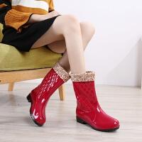 时尚室外女士雨鞋中筒防水舒适水靴平跟加绒雨靴水鞋韩版