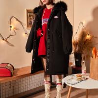 【8折价351.2元包邮,仅限15-16日】唐狮冬季新款羽绒服女带帽毛领工装韩版个性中长款潮流时尚