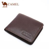 Camel骆驼男士真皮钱包短款牛皮钱夹男商务休闲横款皮夹多卡位潮