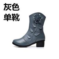 新款粗跟单靴中筒秋冬加绒中跟女靴红色韩版中年妇女妈妈靴子