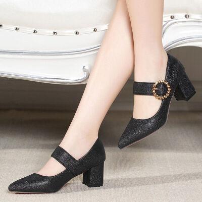 春秋季韩版时尚尖头高跟鞋女式百搭浅口单鞋女粗跟一字扣时装鞋子