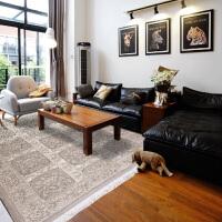 【支持礼品卡】纯手工雕花无印染羊毛地毯 复古简约卧室客厅茶几地毯(165*244cm)