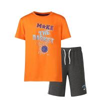 【限时特价 2件8折】鸿星尔克(ERKE)套装儿童运动套装 短袖圆领字母T恤 松紧带短裤五分裤