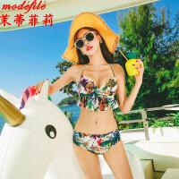 【满2件6折】茉蒂菲莉 泳衣 女士比基尼夏季新款女装大码泡温泉游泳衣女式大胸聚拢带胸垫泳装三件套