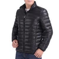 冬季青年男棉衣轻薄款棉袄中年男装爸爸装中老年外套厚羽绒棉 黑色 L