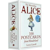 爱丽丝梦游仙境明信片 英文原版 Alice 100 Postcards from Wonderland 文创周边 英文版