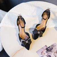 蝴蝶结凉鞋女细跟高跟鞋尖头中空一字带2019新款韩版夏黑色百搭夏季百搭鞋