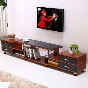电视柜 时尚钢化玻璃伸缩电视柜组合简约现代欧式小户型客厅电视机柜 创意家具