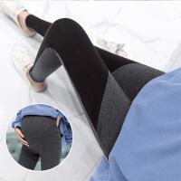 孕妇拼接时尚外穿裤小脚裤 孕妇春秋棉高腰托腹打底裤