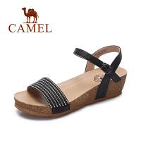 Camel/骆驼女鞋 春夏新款 时尚水钻坡跟凉鞋 皮带扣百搭凉鞋