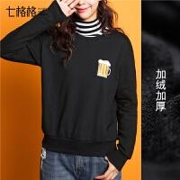 加绒卫衣女新款长袖韩版宽松冬季加厚黑色学生bf打底套头衫潮