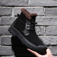 男鞋高帮户外棉靴子 冬季新款保暖加绒男式中筒棉靴 真皮马丁靴男