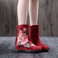 古风汉服鞋女绣花鞋坡跟靴子老北京布鞋内增高女单靴民族风高跟