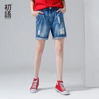 初语新款刺绣破洞牛仔短裤女2017夏 直筒显瘦个性百搭BF风裤子潮