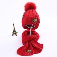 儿童帽子围巾两件套装针织冬季加绒加厚保暖男童女童秋冬中童大童