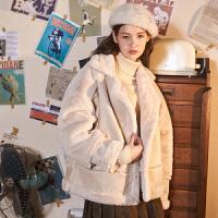 【2件2.5折价207.3元】唐狮年冬装新款棉衣女机车款短款学生宽松加厚潮流外套