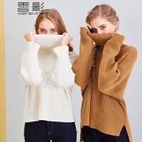 香影高领毛衣女 2017冬装新款休闲纯色宽松针织衫套头中长款开叉+