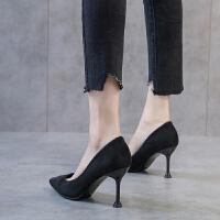 尖头高跟鞋女209新款百搭韩版细跟单鞋女工作鞋绒面黑色法式少女夏季百搭鞋