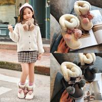 女童保暖棉鞋防水雪地棉女孩公主加绒冬鞋