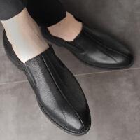 皮鞋男正装英伦尖头德比鞋潮商务休闲套脚男士休闲皮鞋潮 黑色