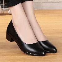 舒适软皮四季单鞋工作鞋职业中跟粗跟春秋高跟鞋大码女鞋皮鞋