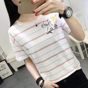 短袖t恤女夏季新款韩版显瘦圆领学生半袖体恤上衣