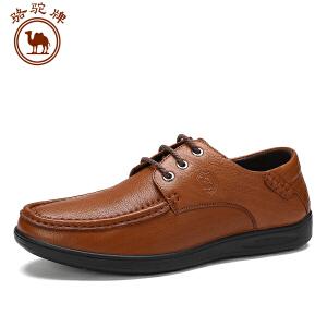 骆驼牌 系带男鞋 日常休闲皮鞋男士舒适圆头低帮耐磨