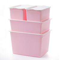 韩式加厚塑料收纳箱整理厨房玩具储物箱四件套衣服衣柜有盖收纳盒