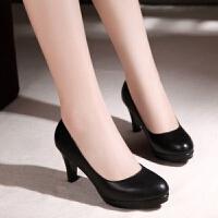 单鞋女工作鞋高跟中跟女鞋春秋新款纯皮圆头单鞋水台黑色女皮鞋