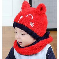 男女童帽子围脖套装 宝宝韩版潮帽围脖套装 婴儿帽子宝宝帽子围脖套装加绒男女儿童围巾帽子2件套