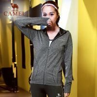 【每满100减50 200-100 300-150】camel骆驼运动女士长袖外套 瑜伽健身服透气跑步大码针织上衣