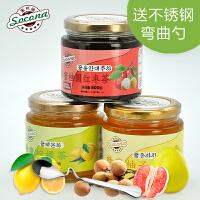 送弯曲勺 Socona蜂蜜桂圆茶+柠檬茶+柚子茶3瓶装韩国水果酱冲饮品