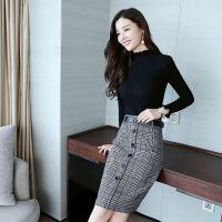 洋气时髦名媛两件套2018秋冬装新款包臀半身裙显瘦针织衫时尚套装