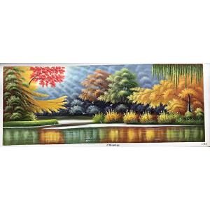 风景油画作品 70X180-185