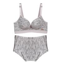 新款无钢圈舒适棉运动内衣文胸套装女士性感吸汗透气聚拢胸罩 灰色(套装) 文胸+内裤