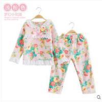 儿童睡衣法兰绒长袖加厚女孩家居服韩版套装女童睡衣珊瑚绒花边