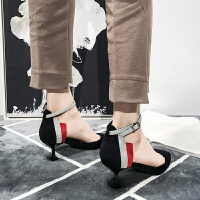 包头凉鞋女细跟高跟鞋尖头单鞋女百搭韩版新款女时尚少女小清新夏季百搭鞋