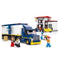 小鲁班拼装玩具 模拟城市货柜集装箱车儿童拼装车模型