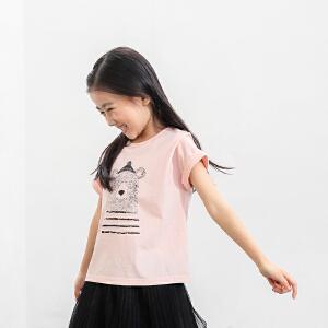 【下单立享5折】amii童装2017秋夏新款女童印花短袖T恤中大童儿童卡通熊T恤