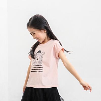 AMII童装2017秋夏新款女童印花短袖T恤中大童儿童卡通熊T恤