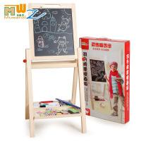 木丸子 儿童玩具支架式双面磁性可升降黑白写字板木制儿童玩具画板