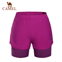 camel骆驼运动女款短裤 弹力透气速干快干假两件女士短裤